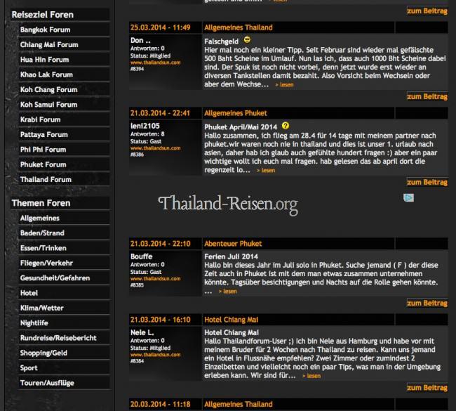 Screenshot (Auszug) des Thailand Forums von Thailandsun