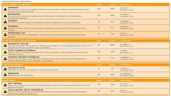 Reiseforum von Thailand Reisetipps (Screenshot der primären Foren)