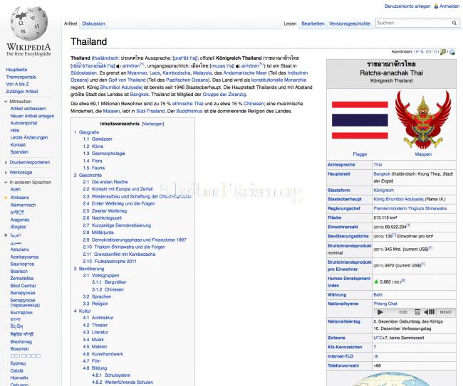 Thailand auf Wikipedia
